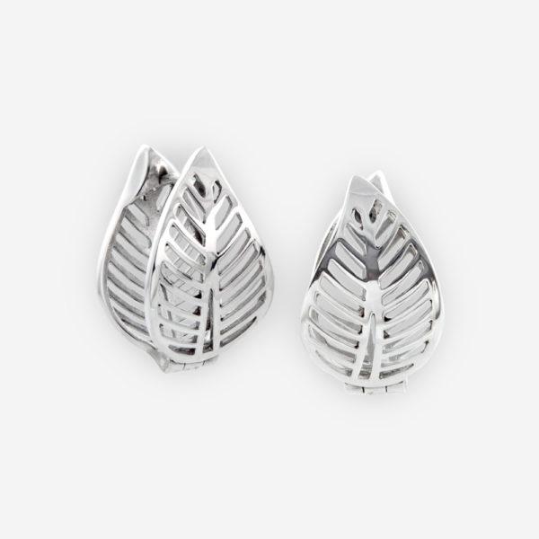 Lace Filigree Leaf Huggie Hoop Earrings crafted in Sterling Silver.