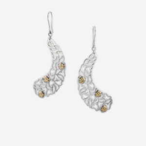 Lace Filigree Winged Dangle Earrings Casting in Sterling Silver with 14k Gold Flowers.