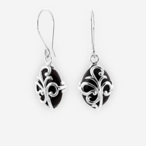 Leaf Scroll Dangling Earrings crafted in Sterling Silver with Onix.