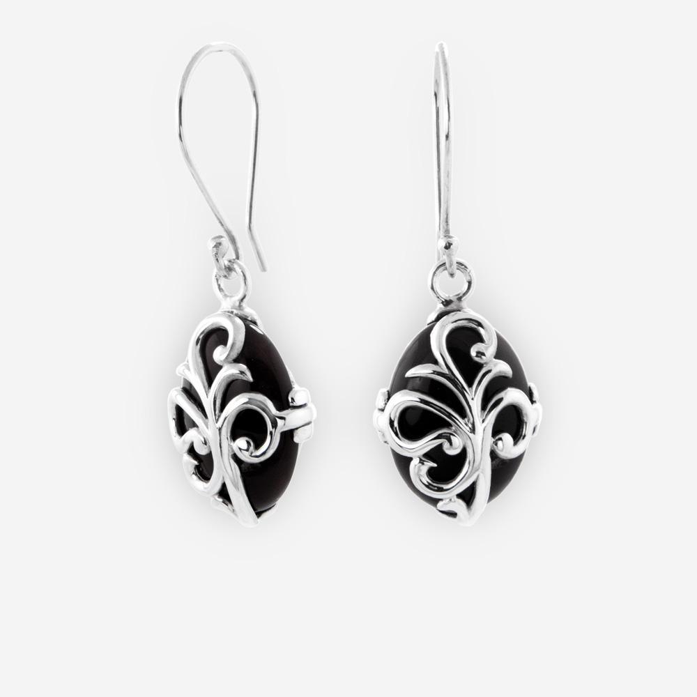 Sterling Silver Leaf Scroll Dangle Earrings With Onyx