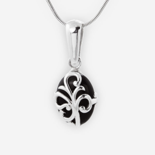 Leaf Scroll Pendant Crafted in Sterling Silver with Onyx.