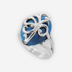 Leaf Scroll Work Ring expertly executade in Sterling Silver with Turquoise.