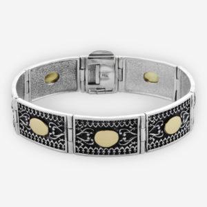 Brazalete Estilo Yemenita Cofeccionado con Eslabones de Plata Oxidada .925 y Oro 14k.