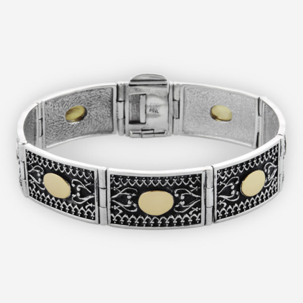 Sterling Silver Link Bracelet. Featuring Yemenite Carved Motifs and 14k Gold Accents.