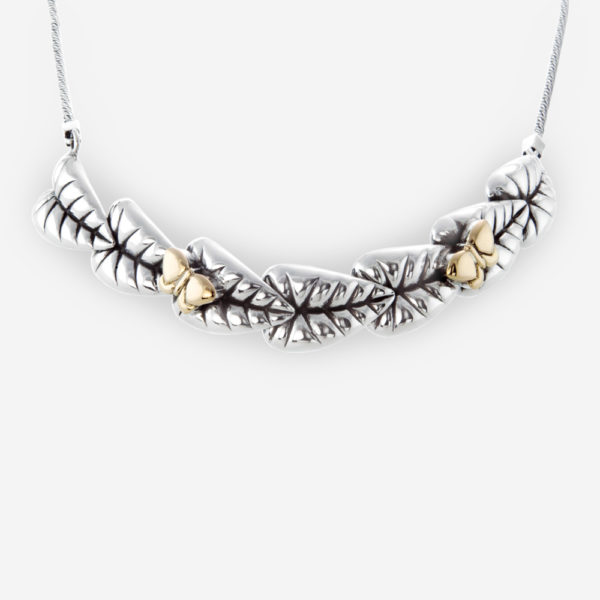 Tentador Collar de Hojas Elegantes hechas de Plata .925, con Mariposas de Oro 14 kt.