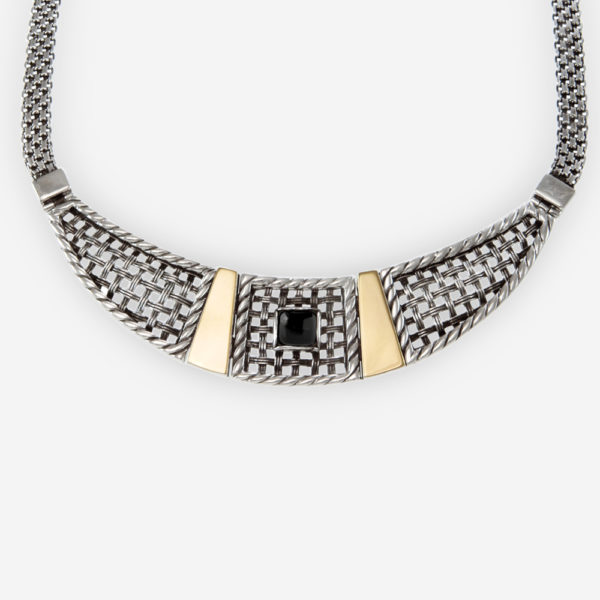 Stunning Sterling Silver Necklace in Lattice Pattern with Natural Onyx and 14k Gold Accents.