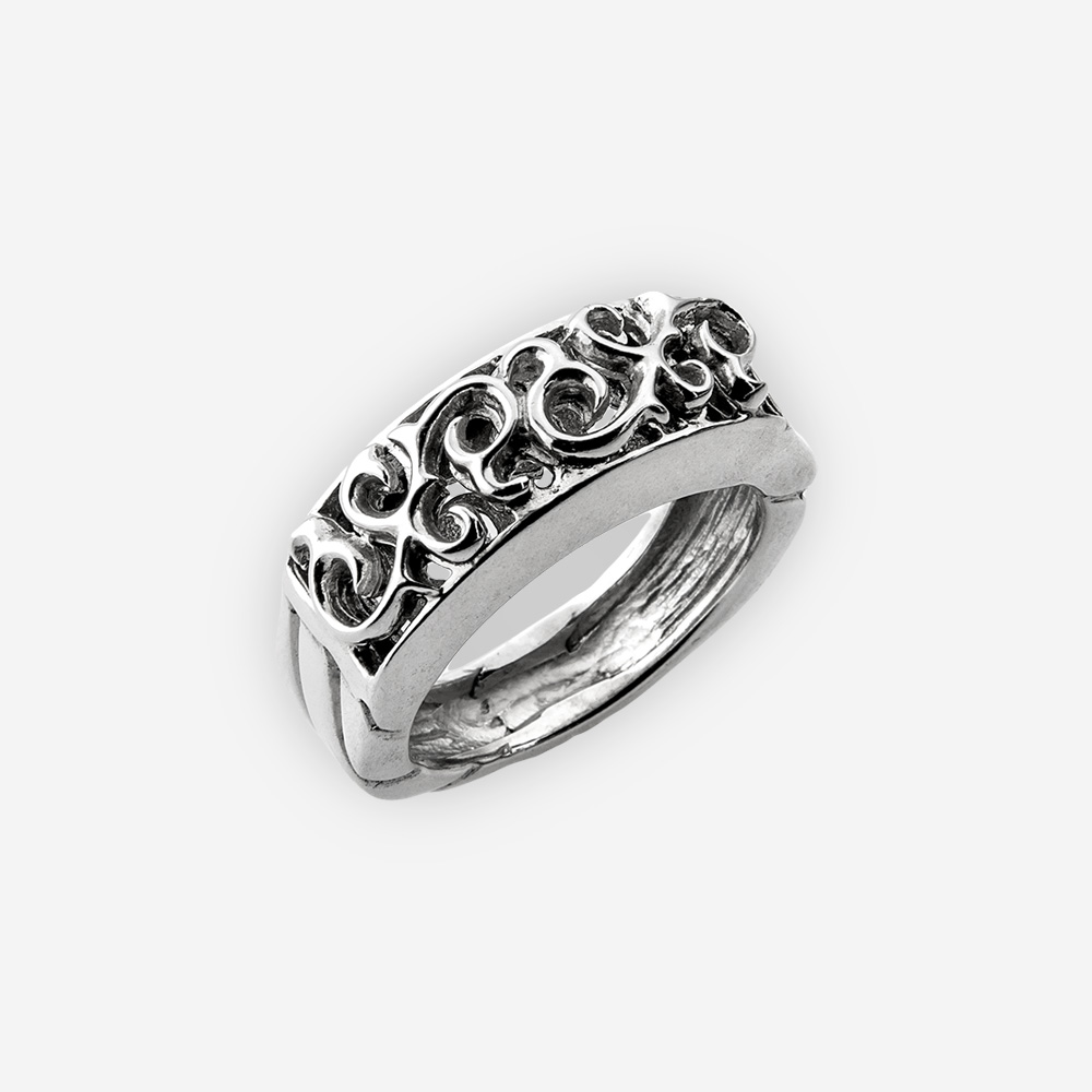 Sterling silver statement ring that features a beautiful scrolling filigree detailed design upper and plain silver band