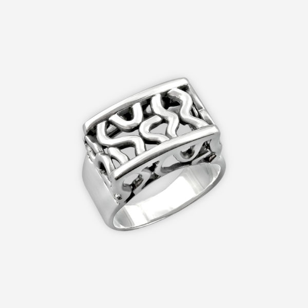 Sterling silver openwork ring with abstract motif with an oxidized finish.