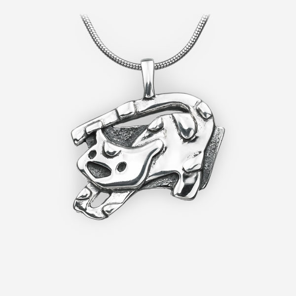 Sterling silver oriental horoscope tiger pendant crafted in 925 sterling silver.