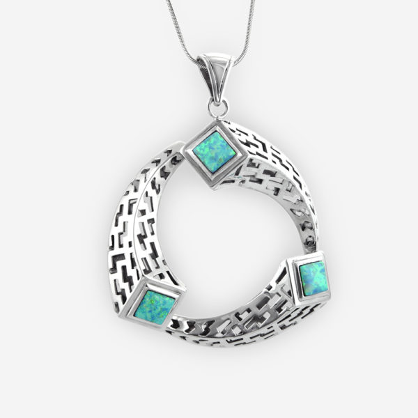 Ouroboros Pendant Casting in Sterling Silver with Opals, Featuring an Intricate Lattice Openwork Greek Patterns, and a Teardrop Bail.
