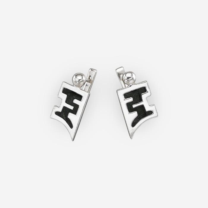 Sterling Silver Pagoda Earrings