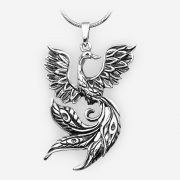 Sterling silver phoenix pendant with an oxidized finish.
