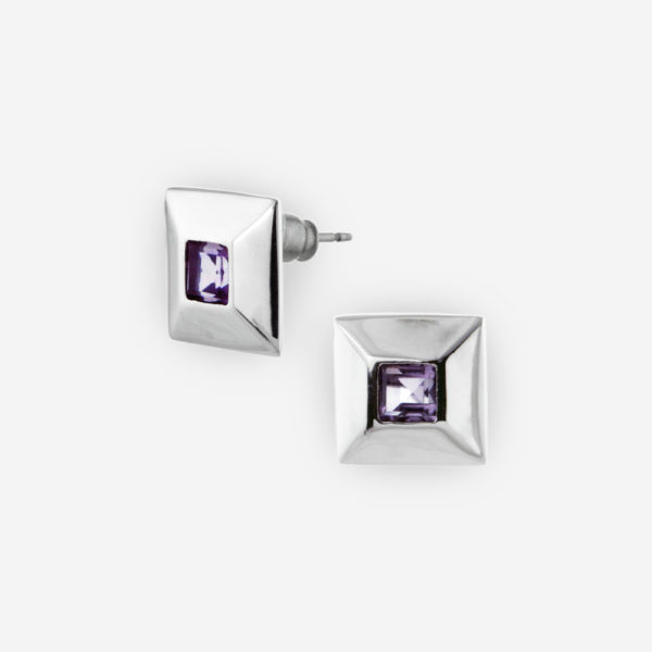 Large Bezel Set Princess Cut Amethyst Stud Earrings crafted in Sterling Silver .