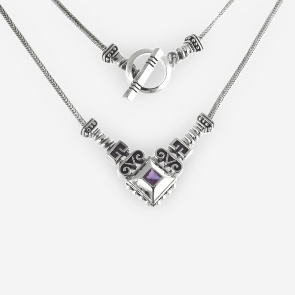 Large Bezel Set Amethyst with Princess Cut Necklace Casting in Sterling Silver with Scroll work Patterns and Toggle Clasp.