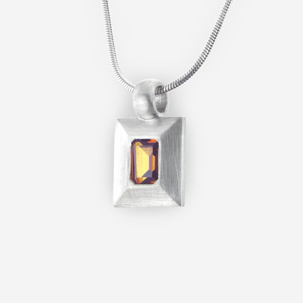 Large Bezel Set Faceted Cubic Zirconia Pendant with Rectangle Shape crafted in Sterling Silver
