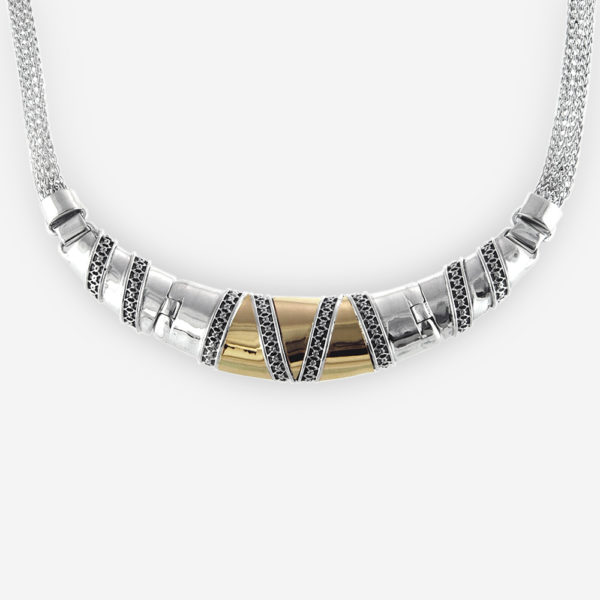 Gorgeous Necklace Casting in Oxidized Sterling Silver and 14k Gold. Carved with Tinny Geometric Shapes, Beautifully Connected all around the piece.