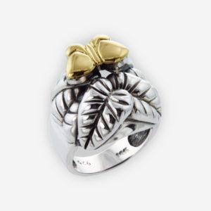 Delicate Ring Crafted in Sterling Silver with Elegant Leaves and 14k Gold Butterfly.