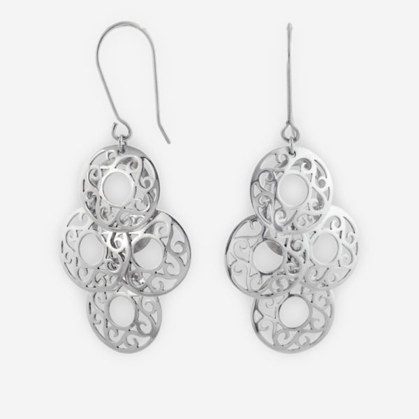 Sterling Silver Round Filigree Chandelier Earrings in Openwork Floral Design with French Hooks.
