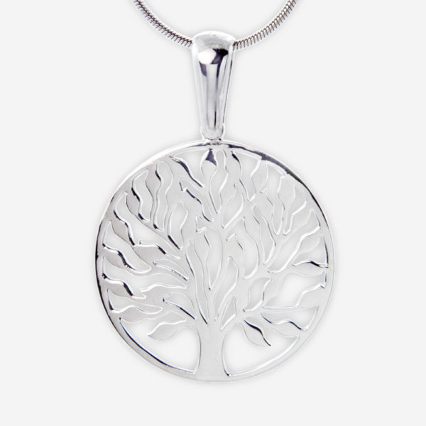 Round Filigree Tree of Life Pendant cast in Sterling Silver.