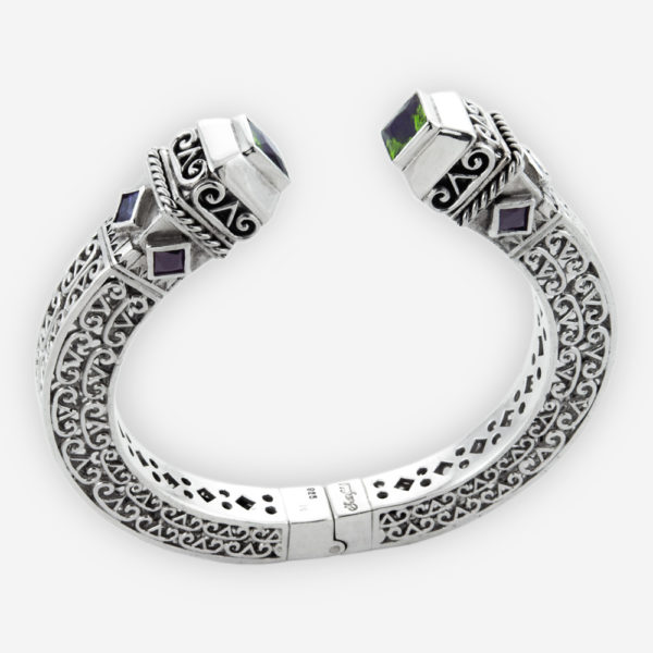 Sterling Silver Scrollwork Hinged Cuff Bracelet. Embellished with Twisted Cable Design and Princess Cut Cubic Zirconia Setting Accents on Top.