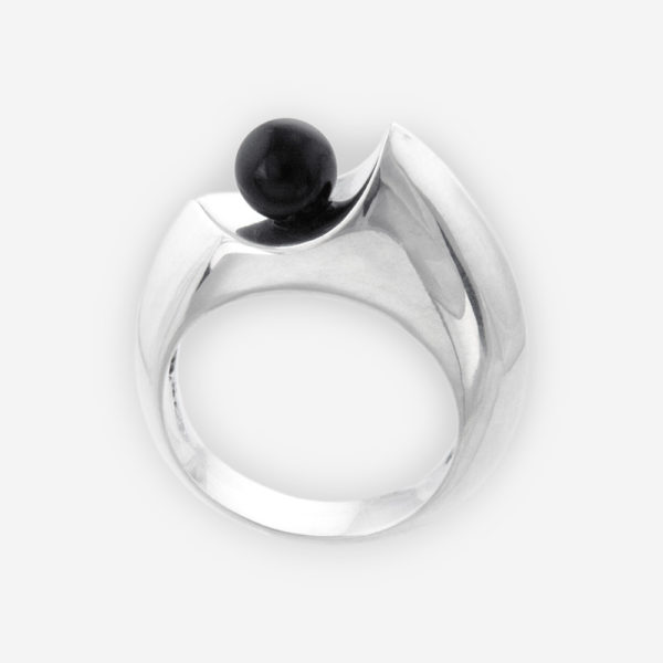 Sculptural Ring Cast in Sterling Silver with Black Onyx.
