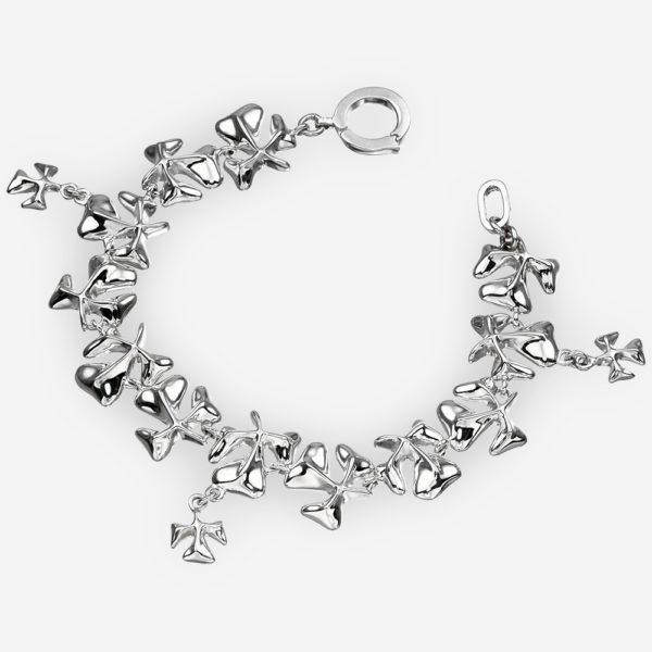 Sterling silver shamrock bracelet with shamrock clover links.