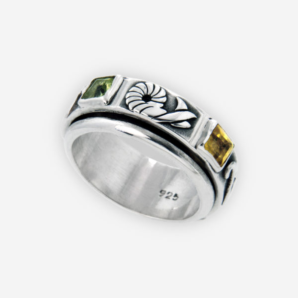 Sterling Silver Spinner Ring set with Multicolored Gemstones and Florale Scrolls Patterns.