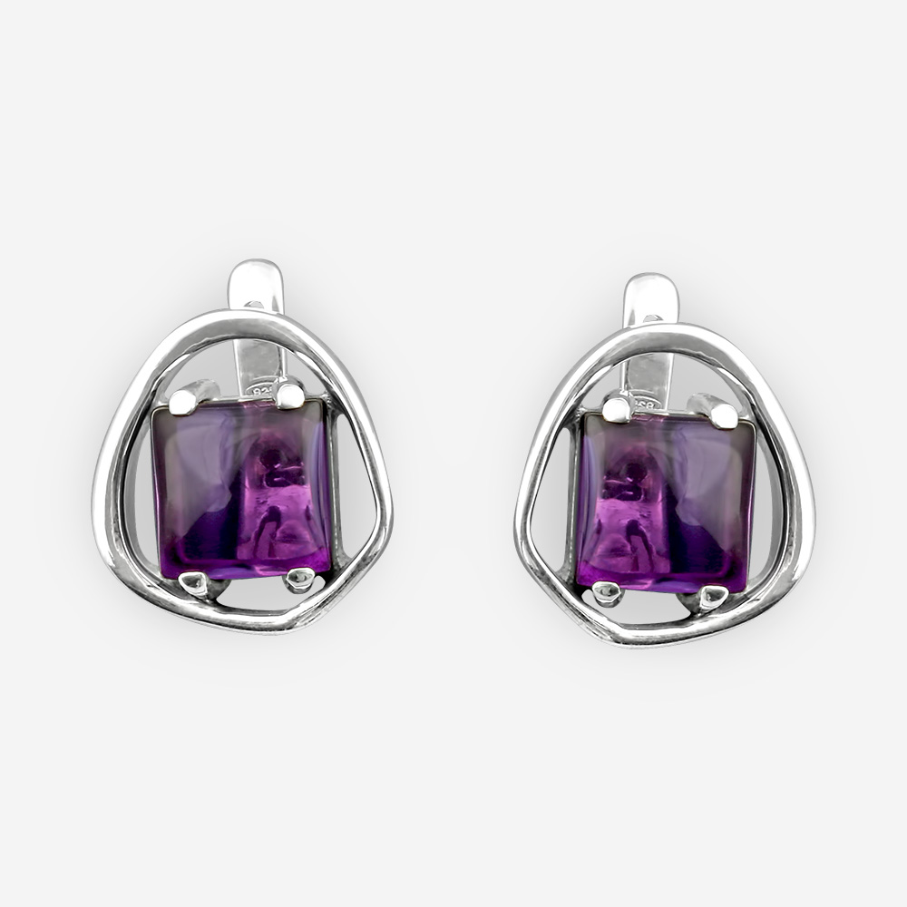Sterling silver square amethyst earrings with square amethyst cabochons and latch back closures.