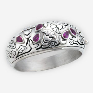 Statement Hinged Bangle Casting in Solid Sterling Silver Carved with Floral Patterns and Embellished with Cubic Zirconia.