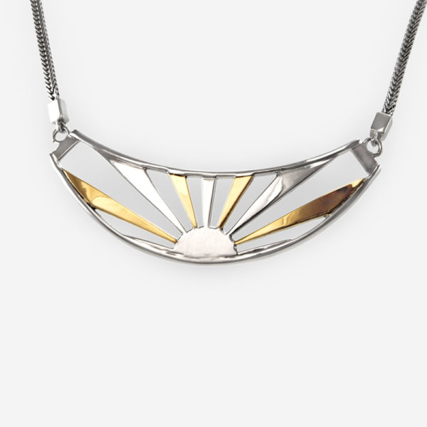 Dazzling Sunrise Necklace, cast in Sterling Silver with 14k Gold.