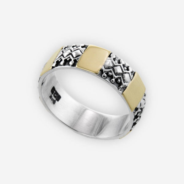 Band Ring Cast in Sterling Silver Carved with a Cutie Design of Toys in Geo Shapes and 14k Gold.