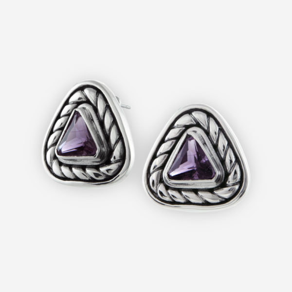 Sterling Silver Triangle Cable Earrings setting with Triangle Cut Cubic Zirconia