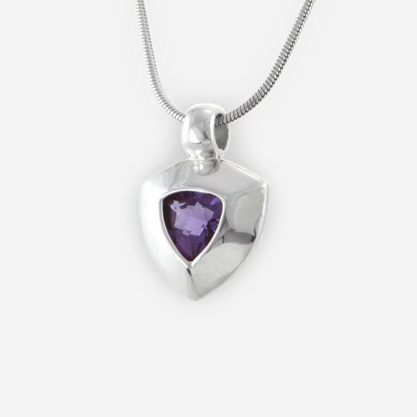 Large Bezel Set Faceted Cubic Zirconia with Triangle Shape Pendant crafted in Sterling Silver.
