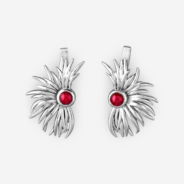 Sterling silver tribal earrings with garnet gemstones and latchback closures.