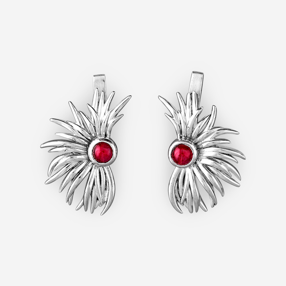 Sterling silver tribal earrings with garnet gemstones and latchback closures.