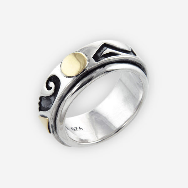 Sterling Silver Spinner Ring Engraved with Tribal Patterns and 14k Gold Accents.