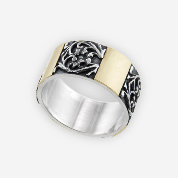Wide Band Ring Cast in Sterling Silver, Featuring Carved Vines Patterns with 14k Gold.