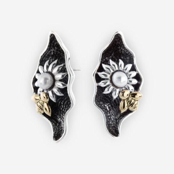 Oxidized Sterling Silver Stud Earrings, with Floral patterns, pearls and 14k Gold Bee's.