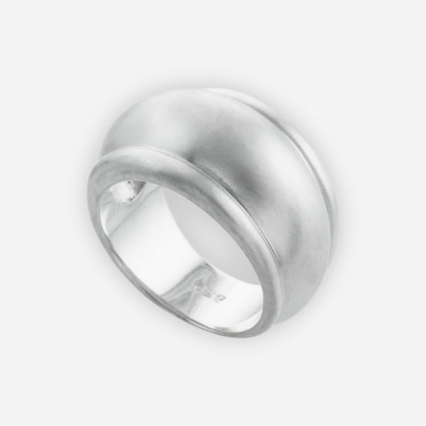 Wide Domed Band Ring Cast in Solid Sterling Silver in a Simple Design.