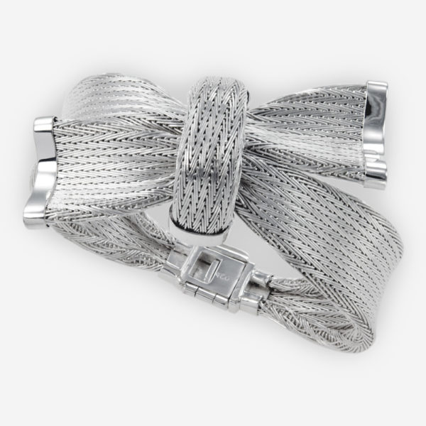 Handwoven Knotted Bracelet crafted in Sterling Silver Fabric