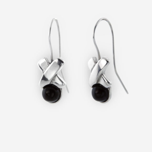 XoXo Dangle Earrings with Onyx made with Sterling Silver.