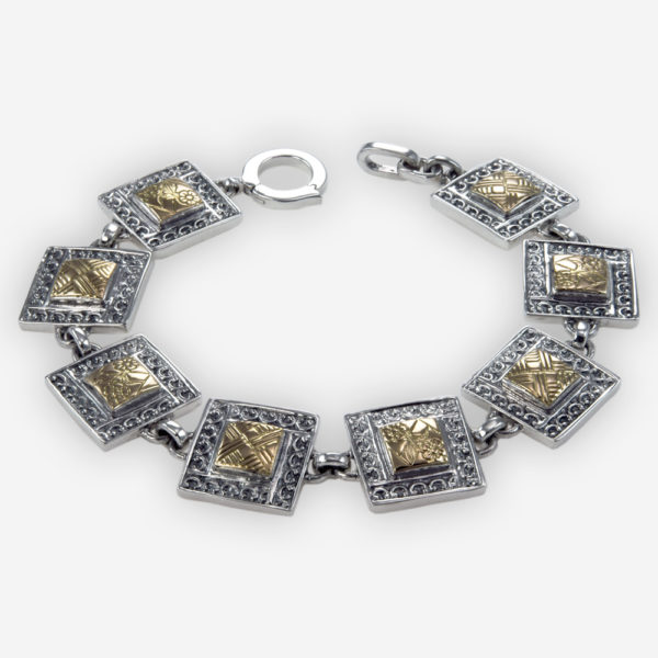 Yemenite Link Bracelet Casting in Sterling Silver with 14k Gold