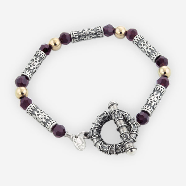 Link Bracelet Casting in Sterling Silver Featuring Yemenite Carved Motifs, Faceted Cubic Zirconias and Gold Filled Bits.