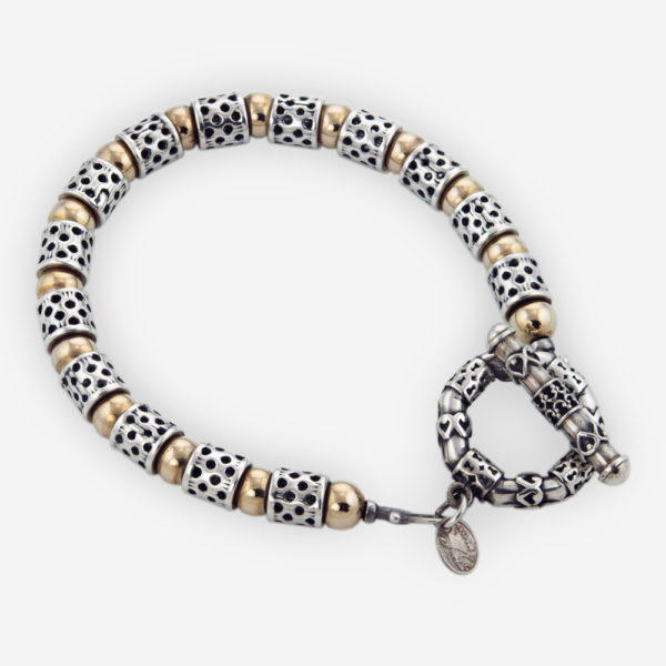 Link Bracelet Casting in Sterling Silver Featuring Yemenite Carved Motifs and Gold Filled Bits.
