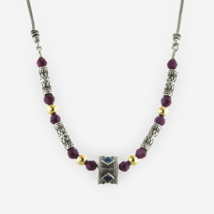 Ageless Necklace Casting in Sterling Silver with Yemenite Carved Motifs, Small Faceted Cubic Zirconias and Gold Filled Bits.
