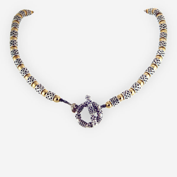 Smart Elegance Necklace Casting in Sterling Silver with Yemenite Carved Motifs and Gold Filled Bits .