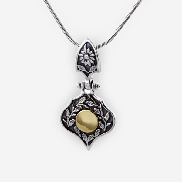 Yemenite Pendant Crafted in Oxidized Sterling Silver with 14k Gold and Beautiful Bail.
