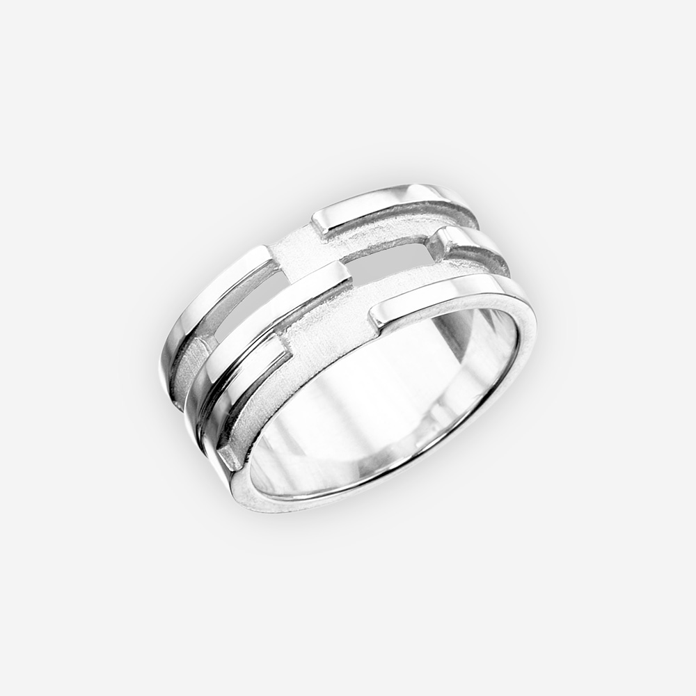 Striking unisex sterling silver ring with polished and textured finishes.