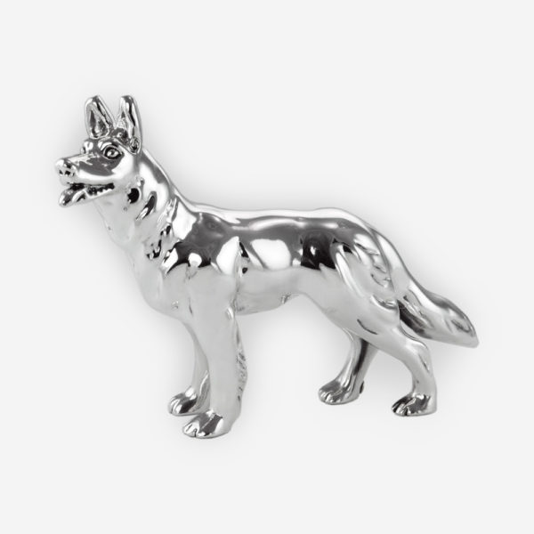 German Shepherd Dog Silver sculpture is crafted with electroforming techniques and dipped in silver .999