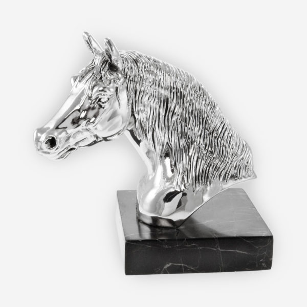 Horse Head Silver sculpture is crafted with electroforming techniques and dipped in silver .999